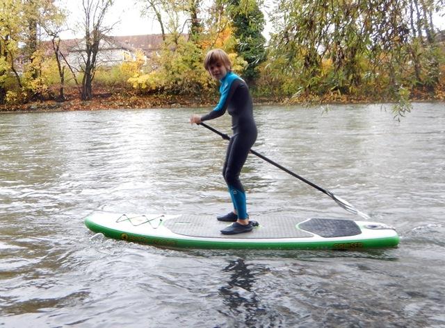 Constantin paddling upstream
