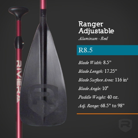 Ranger R8.5 Aluminum Adjustable SUP Paddle - _ranger-red-largeadj-1396698279